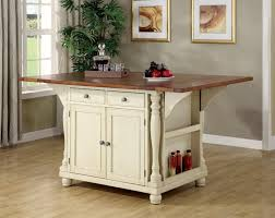 coaster 102271 buttermilk cherry kitchen island with drop leaves