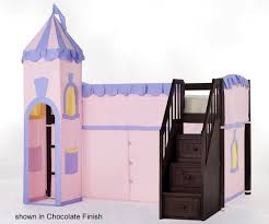 princess castle low loft bed twin size girls white playhouse