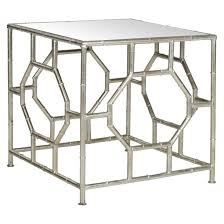 Silver Accent Table Silver Bamboo Geometric Accent Table