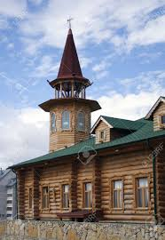 house with tower wooden house with tower stock photo picture and royalty free image