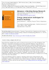 Energy Conservation Techniques For Hospital Buildings Pdf