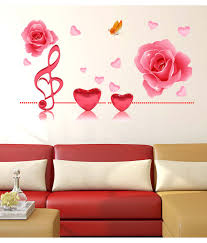 wall stickers romantic couple bedroom price at flipkart snapdeal stickerskart multicolor music notes roses and hearts in pink romantic decal for bedroom living room design
