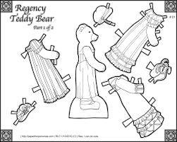 printable regency teddy bear paper doll coloring