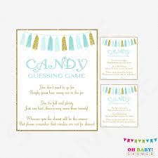 baby shower guessing candy guessing boy baby shower blue gold baby shower