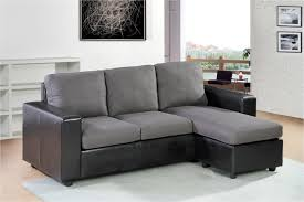 fe 2 tone linen fabric grey u0026 black faux leather sectional