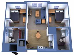 House Layout Design 3d House Floor Plan For South Facing Plot With Two Bedrooms And 2