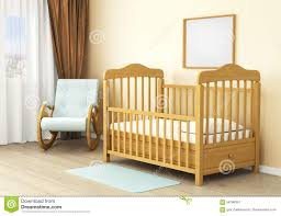 interior of children room with wooden bed of kid concept of