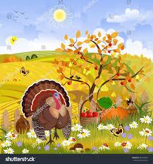 harvest thanksgiving lovely turkey autumn sunny day happy stock vector 464103785