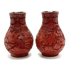 Cinnabar Vases Antiques Regional Art Asian Chinese Lacquer Trocadero