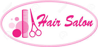 beauty hair salon signboard with pink scissors and comb royalty