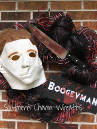24 deco mesh michael myers boogeyman halloween wreath