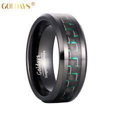 Tungsten Comfort Fit Wedding Bands Aliexpress Com Buy Goldays 8mm Men U0027s Black Tungsten Ring Green