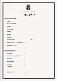 simple resume format image result for simple biodata format for fresher ss
