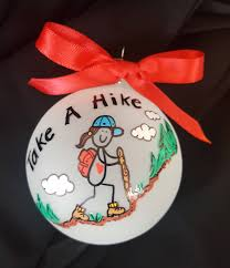 take a hike female ornament custom personalized hiking