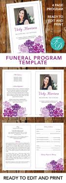 print funeral programs purple flowers printable funeral program ready to edit print