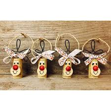 set of 4 wine cork reindeer ornaments rudolph ornaments