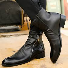 cool fashion punk rocky ankle boots mens quality leather