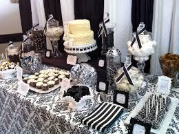 dessert table black and white damask bridal shower white