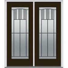 Shaker Style Exterior Doors by Brown 3 Panel Front Doors Exterior Doors The Home Depot
