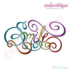 embroitique smile calligraphy script embroidery design large