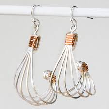 vire earrings silver square wire and copper half wire earrings