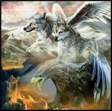 eagle and the wolf diy 5d painting cross stitch