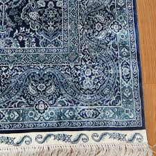 Silk Turkish Rugs 5 U0027x8 U0027 Ink Blue Hand Knotted Silk Special Turkish Rug 656a In