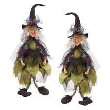 23 2 in cheery witch shelf sitter halloween figurine set of 2