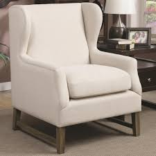 Upholstered Accent Chairs by Coaster 902490 Wing Back Accent Chair Oatmeal Tone Fabric Upholstery