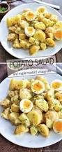 potato salad with soft boiled eggs and maple mustard dressing