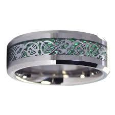 t junction wedding band celtic tungsten ring green carbon fiber wedding band