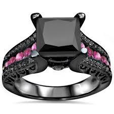 pink and black engagement rings noori 14k black rhodium gold 3ct black diamond pink sapphire