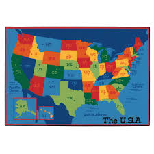 Kids Carpets Animals World Map North Americacolorful Cartoon Stock Vector
