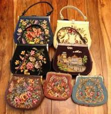 vintage jr of florida purse with needlepoint daisies
