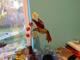 handmade stained glass suncatcher 3d hummingbird and fused glass