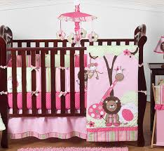 Jungle Themed Crib Bedding Pink And Green Jungle Baby Bedding 9pc Crib Set Only 189 99