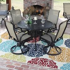 Cast Iron Patio Dining Sets - madison bay 5 piece sling patio dining set with swivel rockers and