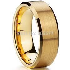 titanium gold rings images Classic 8mm men ring titanium wedding band gold ion plating jpg