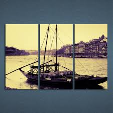 new promotion modern 3 panels canvas art portugal city river boat