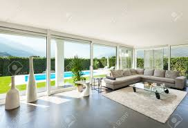 beautiful livingroom modern villa interior beautiful living room stock photo picture