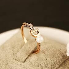 korean wedding rings korean fashion jewelry pearl wedding rings for women letter d