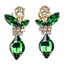 clip on earrings uk wear dimitriadis cluster clip on earrings emerald