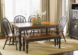 traditional dining set pine wood dining room table with bench 3pc