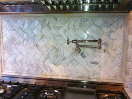 stunning natural stone tile kitchen backsplash features cream