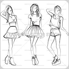 fashion illustration of stylish young women