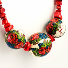 flower bead necklace images Polish art center goral folk bead necklace 25 quot jpg