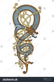 dragon dream catcher celtic scandinavian vintage pattern form twisted stock vector