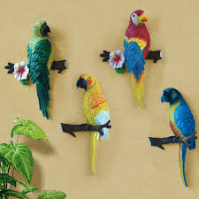 parrot home decor fashion 3d rustic parrot muons hangings wall decoration resin