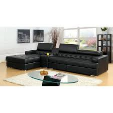 Black Tufted Sofa by Furniture Of America Sectional W Console Black Bonded Leather