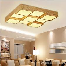 Indoor Light Fixtures 2018 Modern Wood Led Ceiling Lights Square Box 9 Heads Light